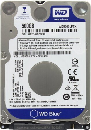 Жесткий диск 500Gb WD Scorpio Blue (WD5000LPCX) {SATA 6Gb/s, 5400 rpm, 16Mb buffer, 7 mm}