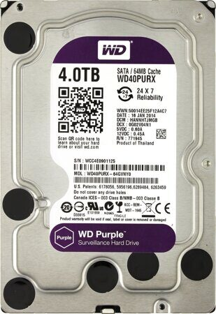 "Жесткий диск 4TB WD Purple (WD40PURX ) {Serial ATA III, 5400- rpm, 64Mb, 3.5""}"