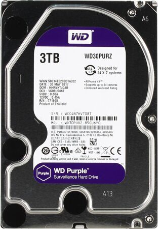 "Жесткий диск 3TB WD Purple (WD30PURZ) {Serial ATA III, 5400- rpm, 64Mb, 3.5""}"