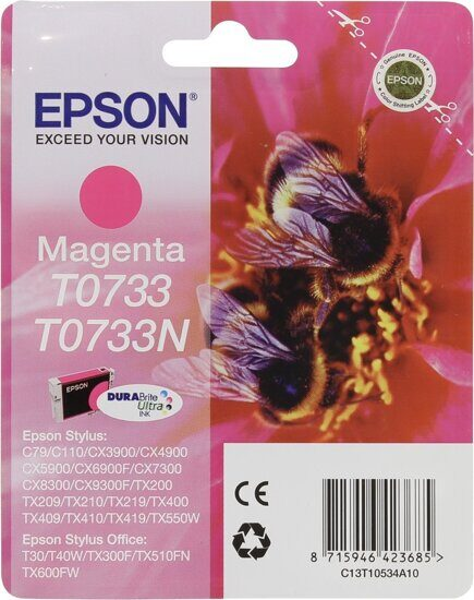 Картридж EPSON T0733, C13T10534A10 (C13T07334A), Magenta