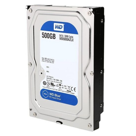 Жесткий диск 500Gb WD Caviar Blue (WD5000AZLX) {Serial ATA III, 7200 rpm, 32Mb buffer}